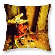 Halloween Trick Of Treats Background Throw Pillow
