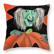 Halloween Witch And Pumpkin Art Throw Pillow