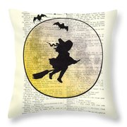Witch Flying With Full Moon Throw Pillow