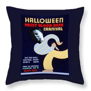 Halloween Wpa Parody Poster Throw Pillow by Paul Van Scott