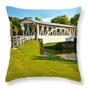 Halls Mill Covered Bridge Landscape Throw Pillow