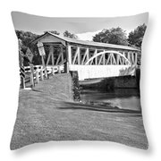 Halls Mill Covered Bridge Landscape Black And White Throw Pillow