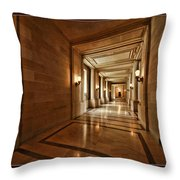 Hallway In City Hall Sf Throw Pillow