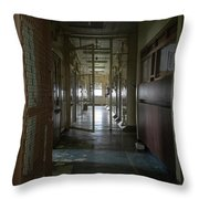 Hallway With Solitary Confinement Cells In Prison Hospital Throw Pillow