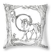 Haloed Unicorn In The Woods Throw Pillow