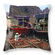 Halong Bay Harbor Scene Throw Pillow