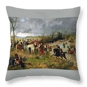 Halt Of Prince Charles Edward On The Banks Of The Nairne Throw Pillow