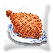 Ham On The Plate Throw Pillow