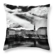 Hamburg At Sunset Throw Pillow
