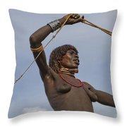 Hamer Tribe Woman, Ethiopia  Throw Pillow