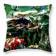 Hammerhead Shark Swimming Through New Abstract Coral Throw Pillow