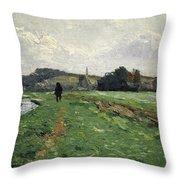 Hammewiesen With Pond Mountain Throw Pillow