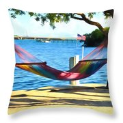 Hammock Time In The Keys Throw Pillow