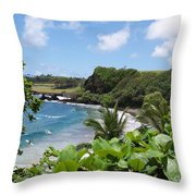 Hamoa Beach Tropical Hana Maui Hawaii Waves And Surfers Throw Pillow
