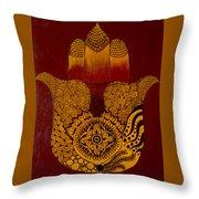 Hamsa- Brown Throw Pillow