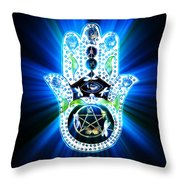 Hamsa Hand Indigo Energy Throw Pillow by Eva Thomas