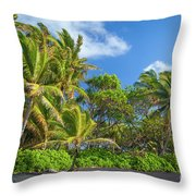 Hana Palm Tree Grove Throw Pillow by Inge Johnsson