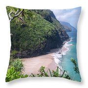 Hanakapiai Beach - Kalalau Trail - Kauai Hawaii Throw Pillow