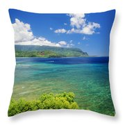 Hanalei Bay And Bali Hai Throw Pillow