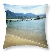 Hanalei Bay And Pier Throw Pillow
