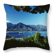 Hanalei Bay Boats Throw Pillow