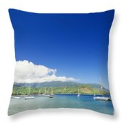 Hanalei Bay Coastline Throw Pillow