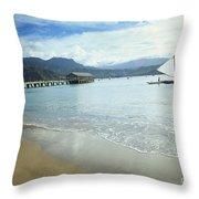 Hanalei Bay Outrigger Throw Pillow