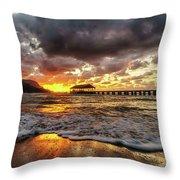 Hanalei Pier Reflections Throw Pillow