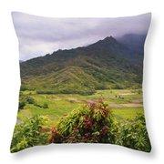 Hanalei Valley Panorama Throw Pillow