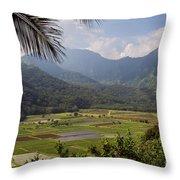 Hanalei Valley Taro Fields - Kauai Throw Pillow