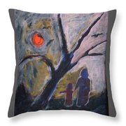 Hand In Hand Walk Under The Moon Throw Pillow