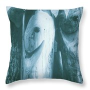 Hand Carved Fish Sculptures Throw Pillow