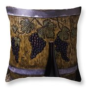 Hand Carved Wine Barrel Throw Pillow