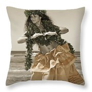 Hand Colored Hula Throw Pillow