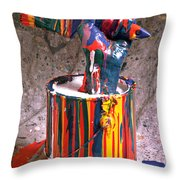 Hand Coming Out Of Paint Can Throw Pillow by Garry Gay