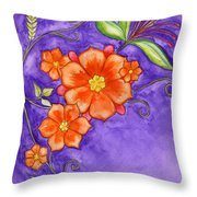 Hand Drawn Pencil And Watercolour Flowers In Orange And Purple Throw Pillow