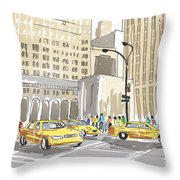 Hand Drawn Sketch Of A Busy New York City Street Throw Pillow