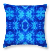 Hand-dyed Blue And Turquoise Fabric With Zig Zag Stitch Details  Throw Pillow