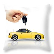 Hand Holding Key To Yellow Sports Car Throw Pillow