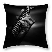 Hand Of A Guitarist In Monochrome Throw Pillow