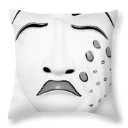 Hand On Face Mask B W Throw Pillow