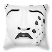 Hand On Face Mask Black White Throw Pillow