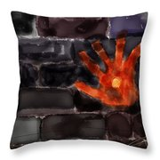 Hand On The Hole On The Wall Throw Pillow