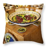 Hand Painted Dishes Throw Pillow