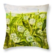 Hand Painted Picture, Meadow With White Dandelines Throw Pillow