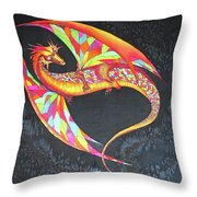 Hand Painted Silk Scarf Dragon On Black Throw Pillow