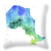 Hand Painted Watercolor Map Of Ontario, Canada In Blue And Green  Throw Pillow