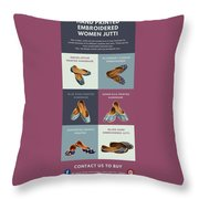 Hand Printed Embroidered Women Jutti Throw Pillow