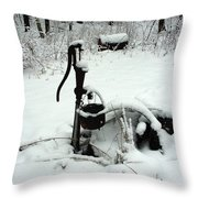 Hand Pump In The Winter Throw Pillow
