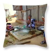 Hand Washing Clothes Throw Pillow